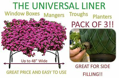 "3 PACK - Planter, Trough, Manger & Window Box Liner - Liners - Up to 48"" Wide"