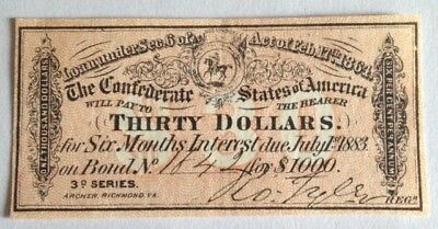 A Civil War, $30.00 Interest receipt, from a 1864 Confederate $1000 Bond *Super*