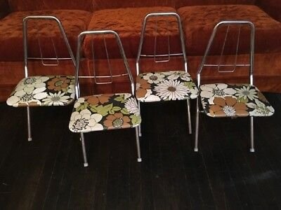 Set of 4 Vintage Mid-Century Modern Chrome & Vinyl Folding Chairs Childrens Size