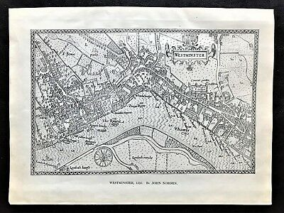 "1904 Antique Map of ""Westminster in 1593 "" by John Norden ~ Birds Eye View"