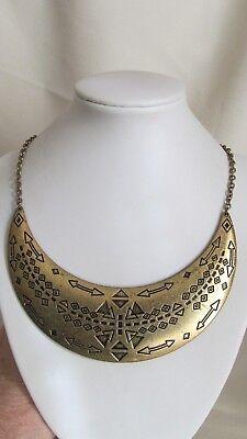 Awesome Vintage Rustic Gold Tone Egyptian/tribal/collar Necklace Free Shipping