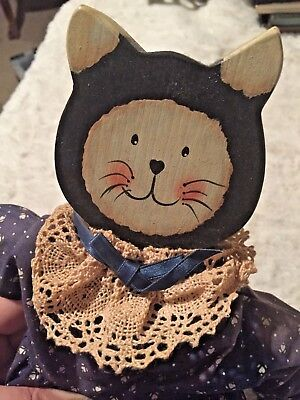 Handmade Calico Cat Wooden doll with dress and moveable arms and legs