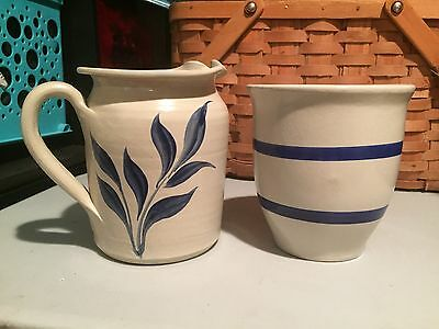 !!  Stoneware crock and pitcher set PRISTINE... HEAVY !!