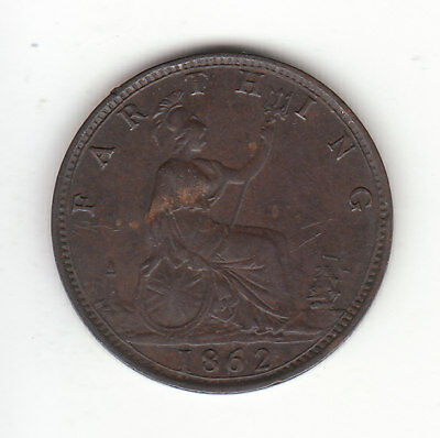 1862 Great Britain Queen Victoria 1 One Farthing. Nice Grade.