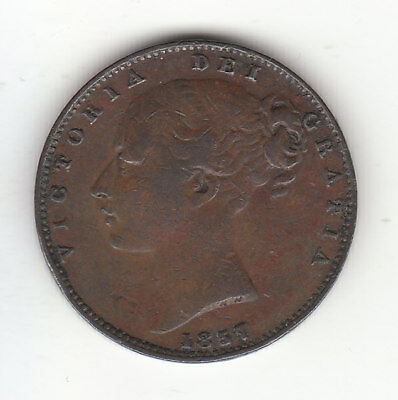 1857 Great Britain Queen Victoria 1 One Farthing. Nice Grade.