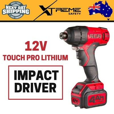 New 12V 4Ah Touch Pro Lithium Impact Driver LED Light Variable Speed 3000 BPM