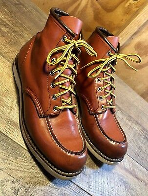 "RED WING 8131 Moc Toe Oro Russet Portage Leather 6"" Boots Size 10.5D Made"