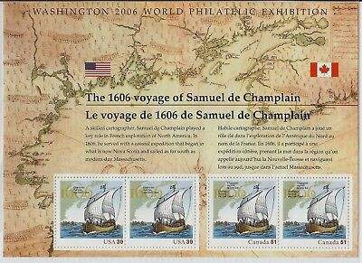 SCOTT U.S. #4074 Voyage of Samuel de Champlain - SHEET WITH 2 US & 2 CAN. STAMPS