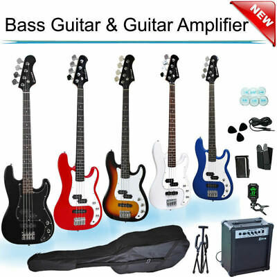 Electric Bass Guitar with Picks Bag Tuner Strap Amp Set Brand New