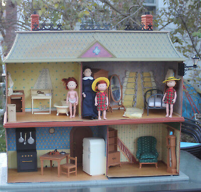 Lovely Old House In Paris Eden Dollhouse/Furniture/2 Madeline Dolls/Miss Clavel/