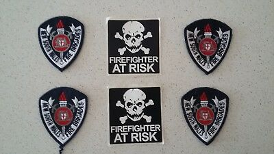 New South Wales Fire Brigades Uniform Patches and Firefighter at Risk Stickers