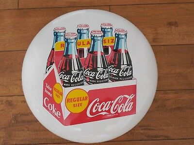 Rare White 16 Inch Coca Cola Button Sign Porcelain Take Home Regular Size 6 Pack