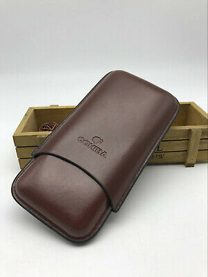 Original COHIBA Leather Travel Humidor Case Brown Color With 3 Tube