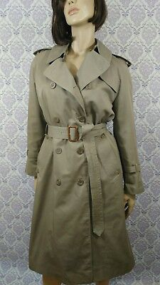 VTG Aquascutum Trench Coat Aqua 5 Womens Size 10 Wool Blend Removable Lining