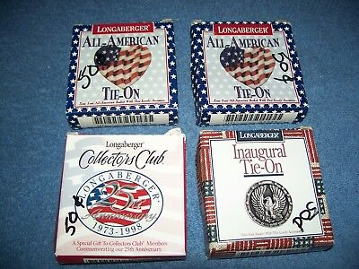 Lot of 4 Longaberger Tie Ons All American Heart Flag Anniversary Innaugural Tags