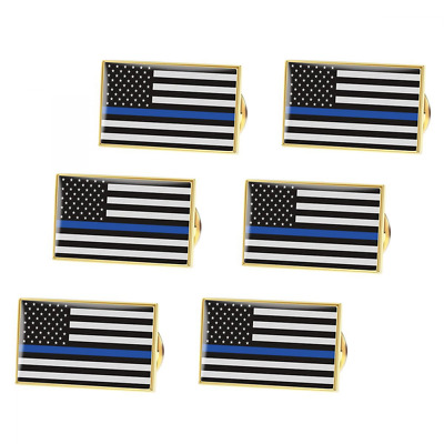BESTOMZ American Flag Pin Thin Blue Line Police Lapel Pin Pack of 6