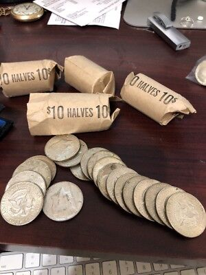 Roll Of $10 Face Value Circulated 40% Silver Kennedy Half Dollars