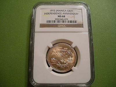 1972 Jamaica 20 Dollars Gold 10th Annv. of Independence .2532 AGW NGC MS68