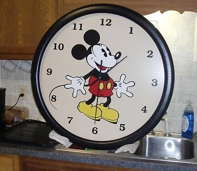 "Large Vintage Lane Co Mickey Mouse Wall Clock, 34""very nice,disney,watch,hanging"