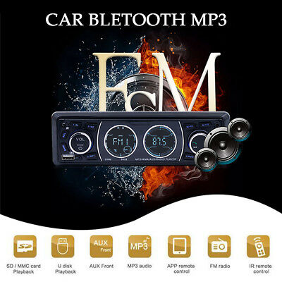 Bluetooth 1Din Car Stereo Audio In-Dash MP3 Player AUX FM USB charging IR remote