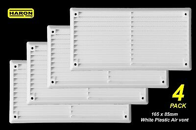 4 x Air Vent White Plastic 165 x 85mm - With Flyscreen - Wall & Cupboard Vent