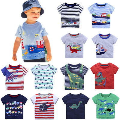 Boys Tractor T-Shirt Age 18 24 Mths 2 3 4 5 Yrs Kids Navy T-shirts Top Clothes