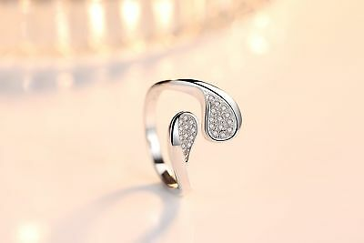 Fashion Style 925 Sterling Silver Zircon Simple Adjustable Ring Jewelry J-156