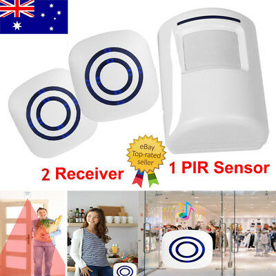 38 Chime PIR Chime LED 100 meters Security System Battery Doorbell 2 Receiver AU
