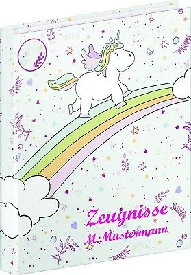 Zeugnismappe Ringbuch Little Einhorn Unicorn mit Name + 10 Folien