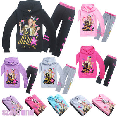 Hot Kids Girls JoJo Siwa Hoodies Casual Cartoon Tops Sweatshirt Clothes+trousers