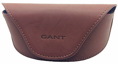 Gant Large Sunglasses Glasses Case Brown Tan Faux Leather With Blue Lining Pouch