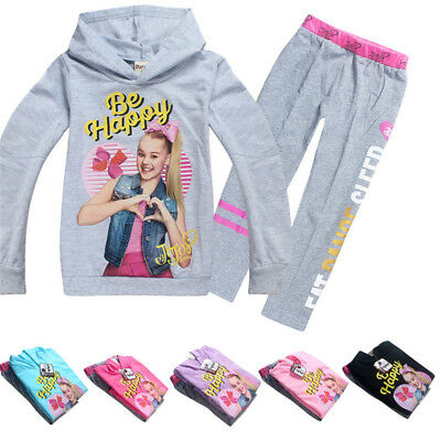 Jojo Siwa Kids Girls Hoodies Casual Cartoon SweatShirt Tops Clothes+trousers New