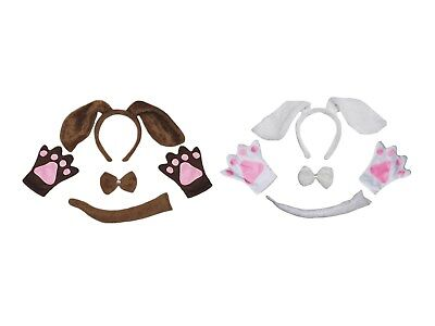 Halloween School Party Animal Dog Headband Paw Tail Bow Kids 4p Costume