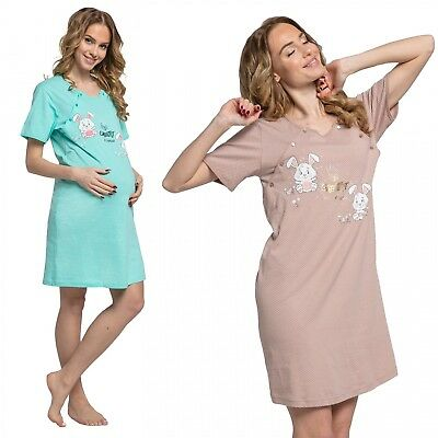 Happy Mama. Women's Maternity Hospital Gown Nightie Dots Labour and Birth. 218p