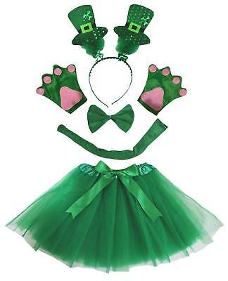 St.Patrick's Day Sequins Hat Headband Bow Tail Paw Skirt 5p Kid Party Costume