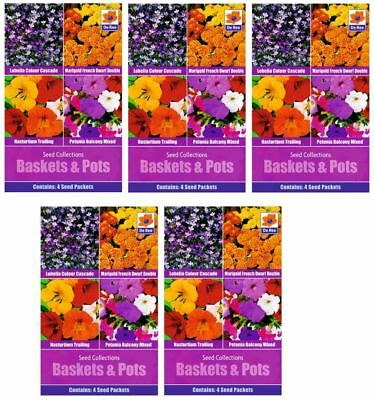 5 PACKETS of BASKETS & POT Garden FLOWER SEED COLLECTION Packs