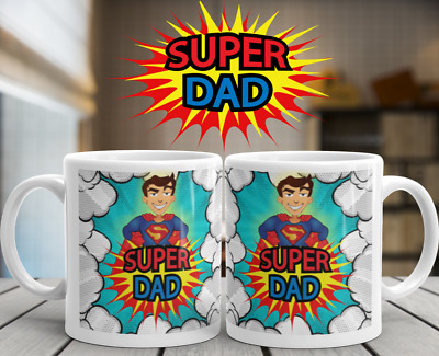 Super Dad Gift Mug Novelty Cup Coffee Tea Ideal Daddy Super Hero Fathers Day