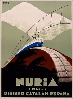 Vall de Núria Nuria Spain Espana Vintage Spanish Travel Advertisement Poster