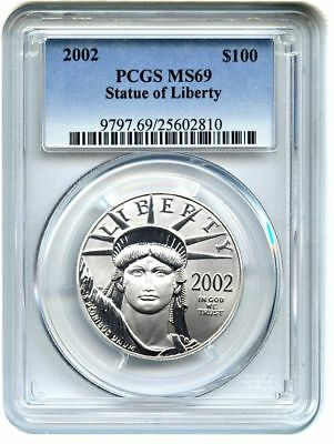 2002 Platinum Eagle Pcgs Ms69 $100 Only 1 Coin Graded Ms70 Statue Of Liberty