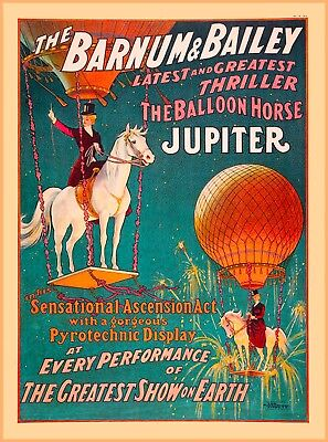Barnum & Bailey Horse Jupiter Vintage Circus Travel Advertisement Poster