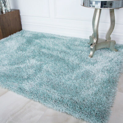 Soft Thick Fluffy Duck Egg Ocean Blue Shaggy Rug Bedroom Living Room Large Rugs