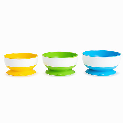 3 Pc Stay Put Baby Feeding Suction Bowl Spill Proof Toddler Set Bpa-Free New
