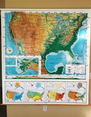 Pull Down School Map 1 Layer U.S Vintage, Salvage, Old, Antique.