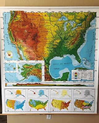 Pull Down School Maps 2 Layer U.S World. Vintage, Salvage, Old, Antique.
