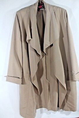 CHICO'S 1M 8 Open Front DUSTER Long Jacket Coat TAN Khaki Beige MODAL Blend