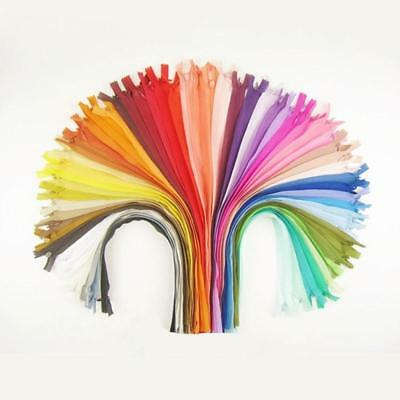 10 Zippers 28cm Assorted Mix Colors Closed End Invisible Zippers 11 Inch Lot
