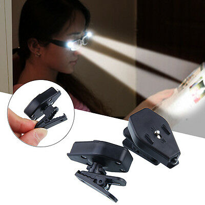 2x Portable LED Clip On Eye Glasses Light Magnifier For Reading Magnifying Glass