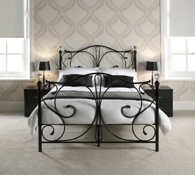 Victorian Style Double Black Metal Bed Frame French Vintage Shabby Chic Crys End