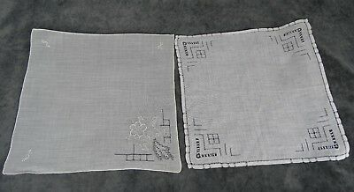 Antique Swiss Appenzell Bridal Two Hankerchief Embroidered Linen n°4