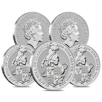 Lot of 5 - 2018 Great Britain 2 oz Silver Queen's Beasts (Black Bull) Coin BU